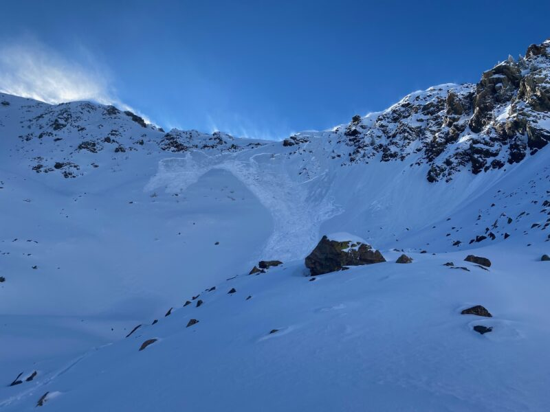 Skier triggered avalanche on Lake Fork Peak. Failed on a faceted weak layer beneath a firm wind slab prior to the storm.