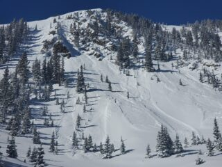 Several natural D1-1.5 avalanches that failed into old snow.