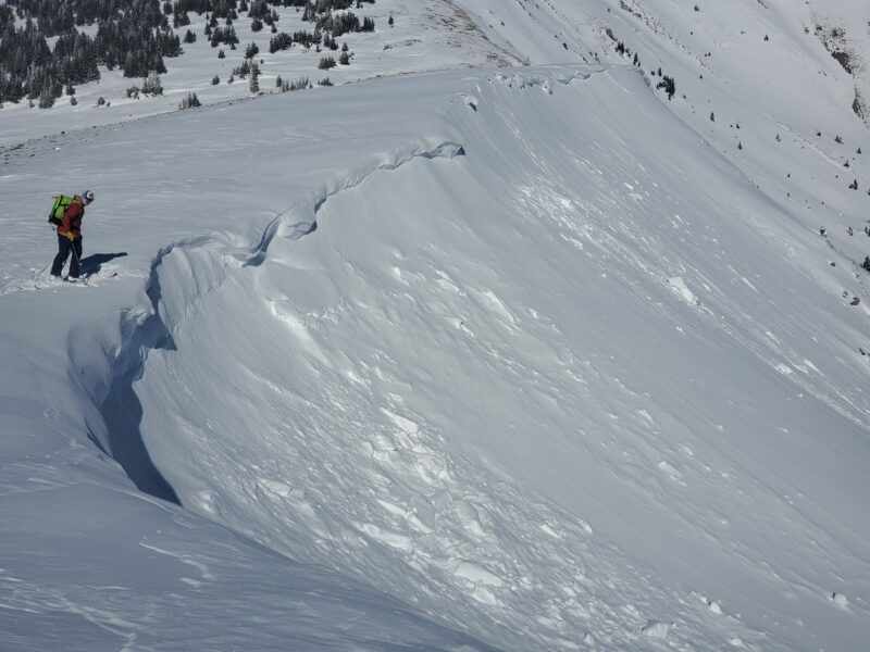 Fresh cornices were failing and triggering small avalanches off the leeward sides of ridges.