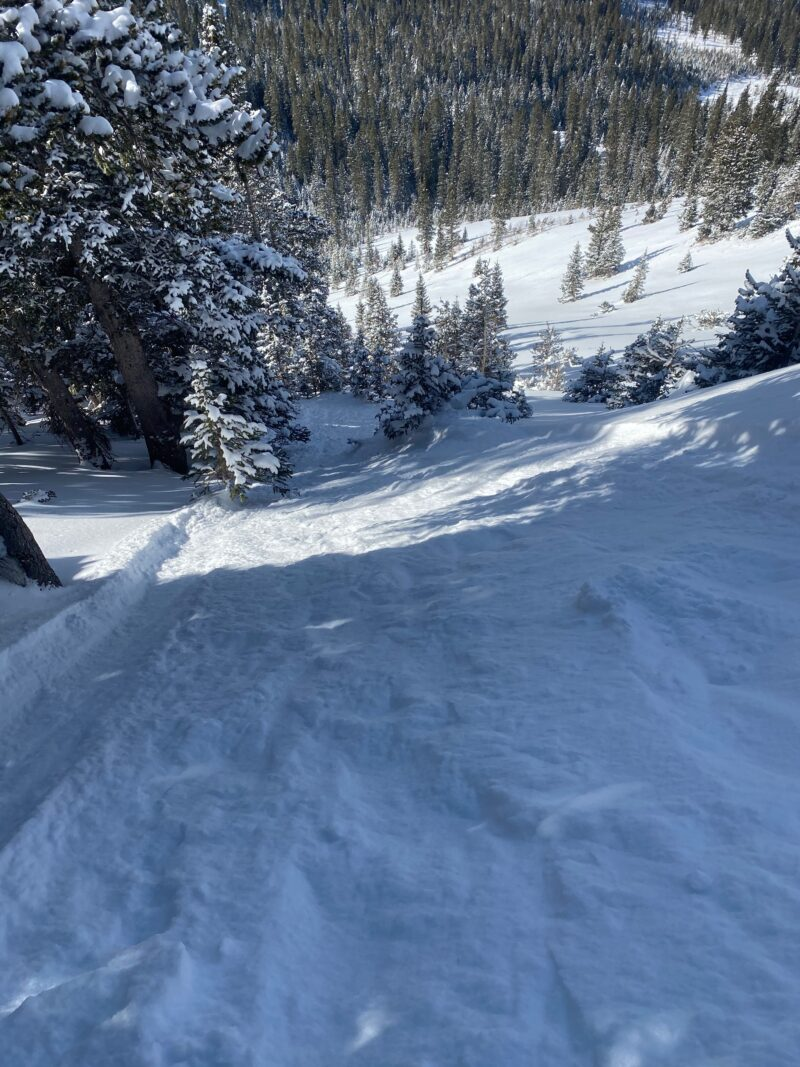 Cohesion-less snow that is easily pushed in steeper terrain