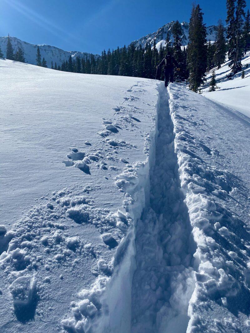 Deep trail breaking in 2 feet of snow