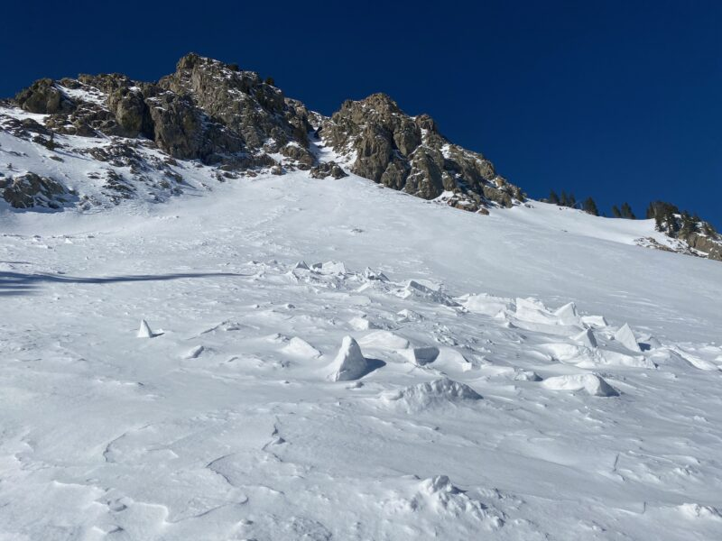 Old avalanche debris that the near treeline snowpit was dug on the adjacent slope