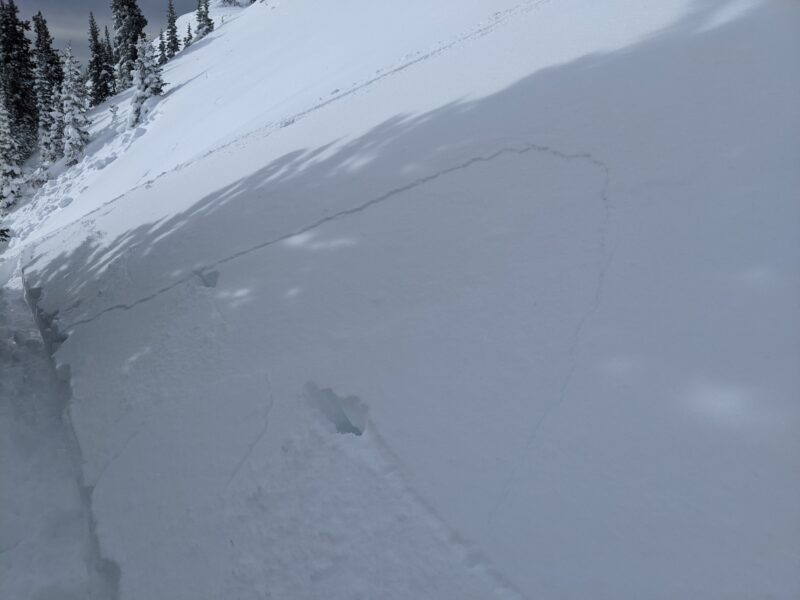 Small shooting cracks within the storm snow layer from observer's tracks traversing in between the two avalanches.