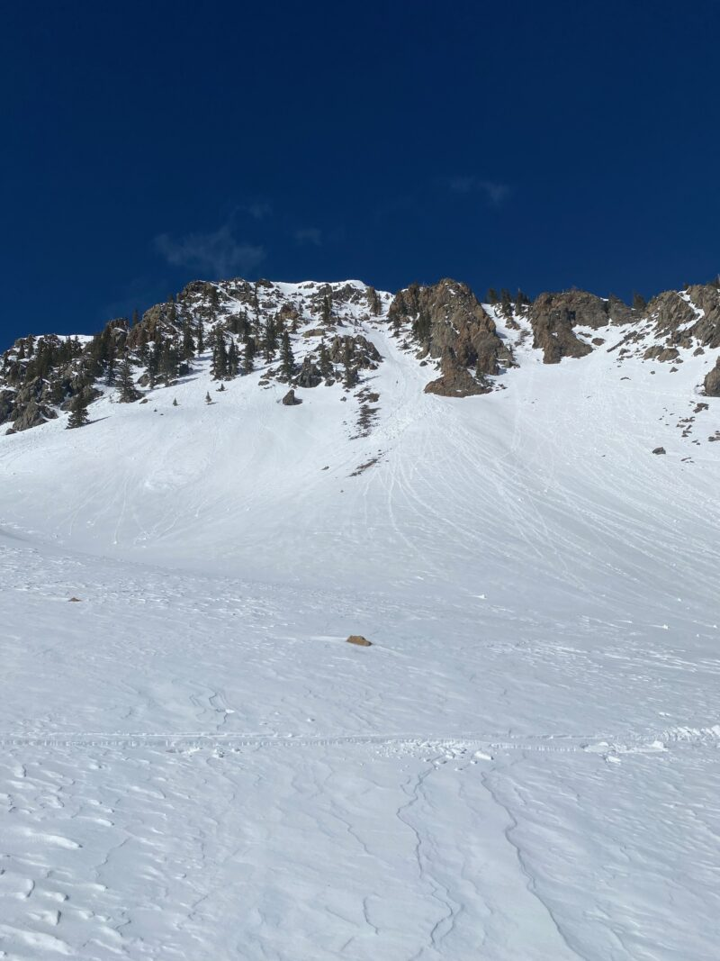 Small loose wet avalanches in steep terrain on southerly aspects