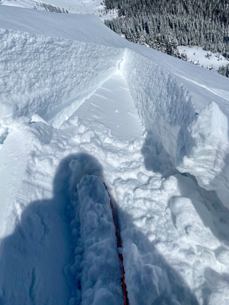 Wind slab on the leeward side of a ridgeline in Long Canyon. Winds over the last 24 hours have been stiffening the new snow.