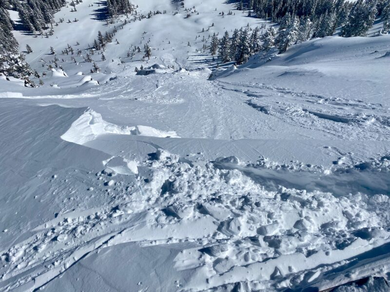 Avalanche I intentionally triggered kicking cornice