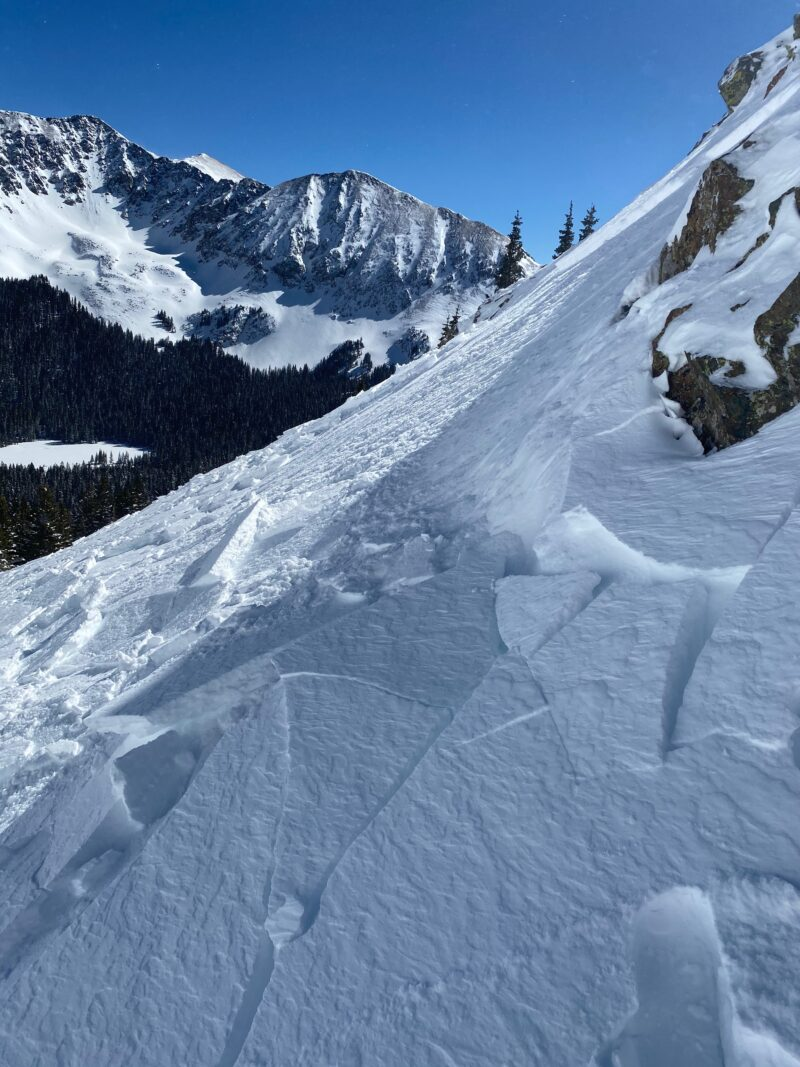 Small convex roll that was loading with wind.  Small intentionally triggered wind slab avalanche