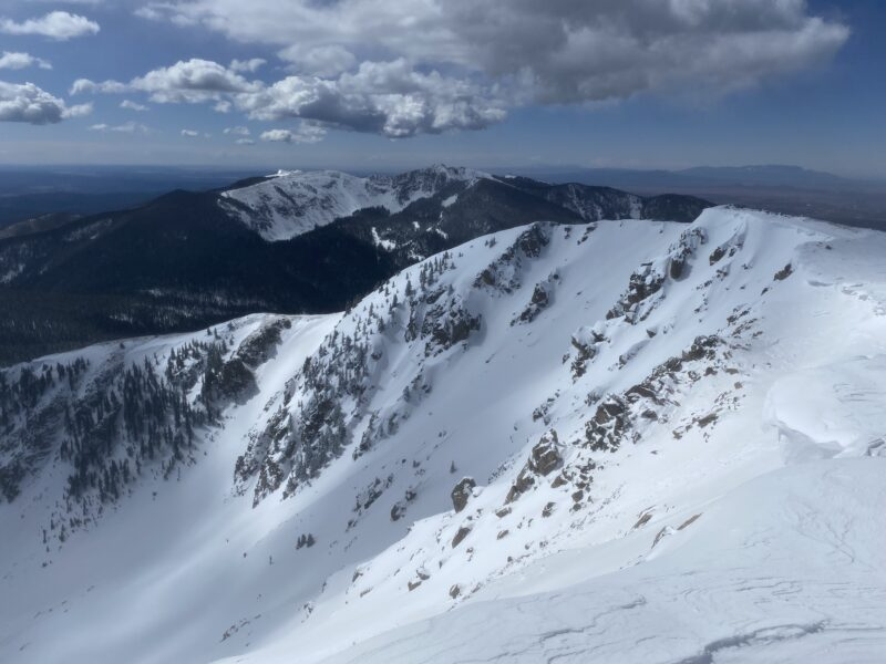 Looking south into SE Cirque of Baldy from summit.