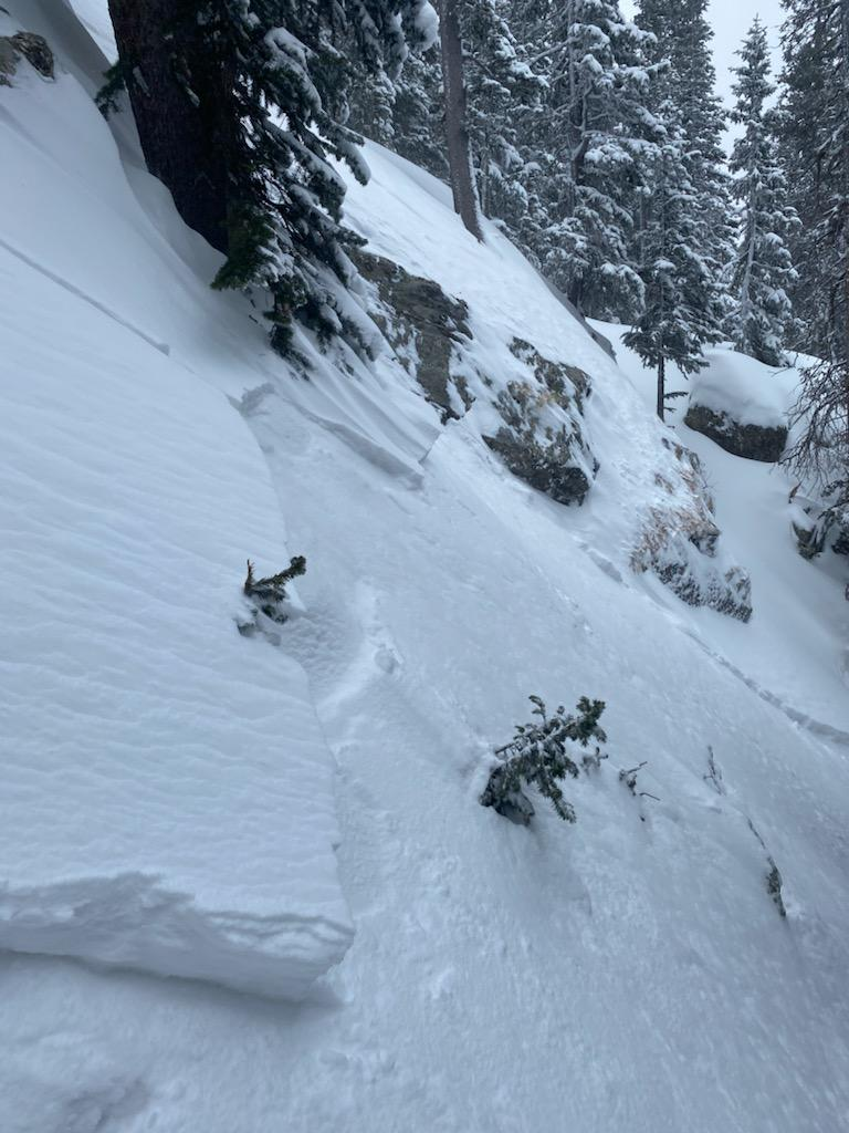 Some of the wind slabs were not bonding well with snow that fell on the previous day.